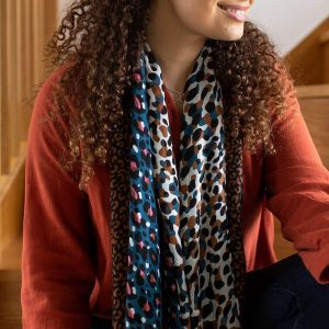 Blue and tan leopard print scarf made from recycled plastic bottles
