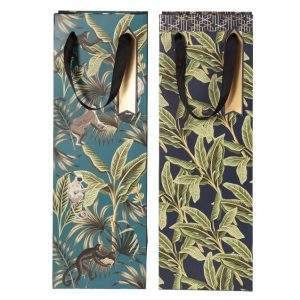 jungle bottle bags in a choice of 2 patterns, teal with monkeys or navy blue with leaves