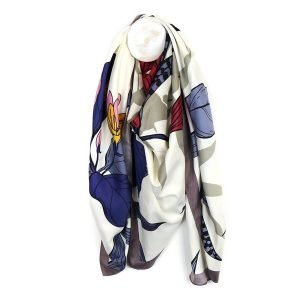Large square silky scarf with a japanese style print