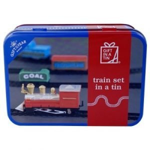 A tin containing a full train set. Battery-operated engine, coal tender, carraige, brake van, 6 curved and 6 straight track pieces