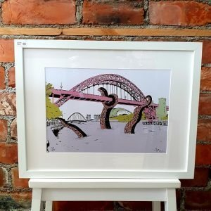 An illustration of a sea monster attacking the tyne bridge. A4 print