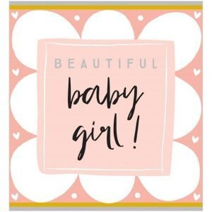 A square card with a pink cloud design with a lighter pink square in the centre and the words Beautiful Baby Girl printed in the centre of it.