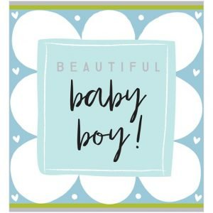 A square card with a blue cloud style design and a blue square in the centre of the card with the wording Beautiful Baby Boy.