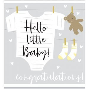 A square card with a washing line with a baby grow, teddy bear and socks hanging on the line. The word congratulations is printed on the bottom of the card.