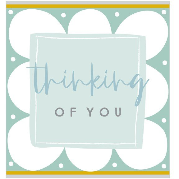 A square card with a blue flower design and a blue square in the centre of it. The words Thinking of you are printed in the centre of the square.
