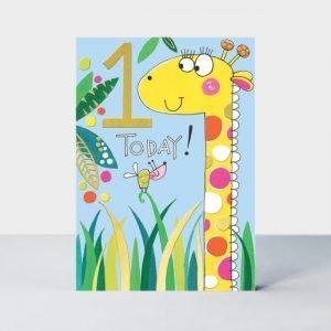 A cute first birthday card featuring a giraffe.