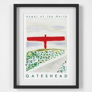 An illustrated print of the Angel of the North in a black frame with a white mount