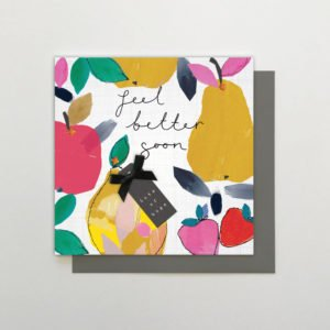 A square card which is covered in images of colourful fruit and hand finished with ribbons and sparkles.