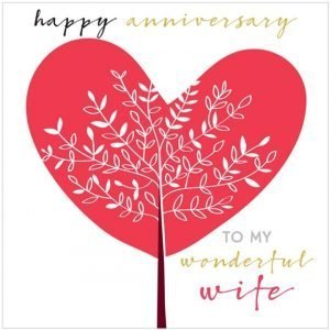 A square card with a large heart and a white tree in front of it. The words Happy Anniversary to my Wonderful Wife printed on it.