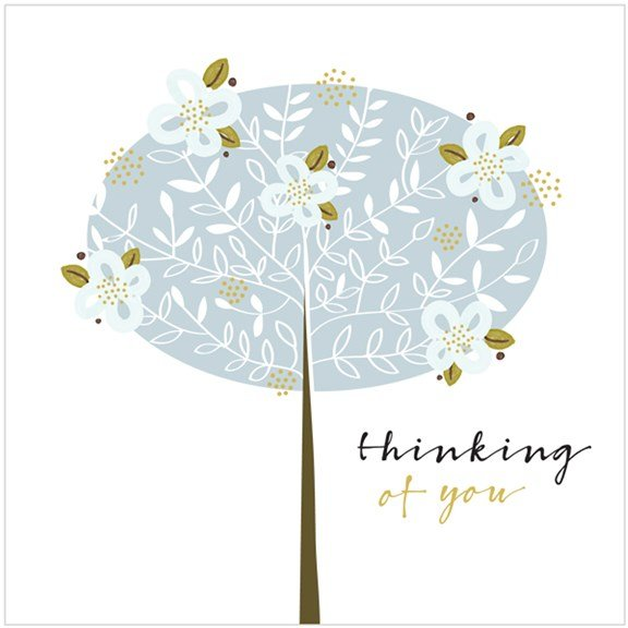 A square card with a tree in the centre of it with the words Thinking of You printed on it.