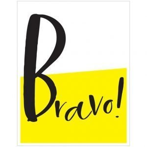 A fun card with a bold statement. The card is half white and half yellow with the word Bravo! printed in black across the card