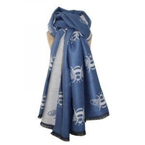 Soft feel thick reversible scarf with bee motifs in blues