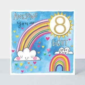 A vibrant age 8 birthday card with rainbows and sunbursts. Printed with neon inks and finished with a 2d number 8