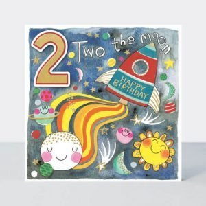 Bright colourful age 2 birthday card with a 3D number 2 and an illustration of a rocket and moon and sun and stars and planets