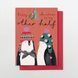Hand finished Christmas card featuring a pair of cute penguins in winter hats. Finished with a black and white ribbon bow and the words Happy Christmas to my other half