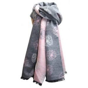 Reversible soft feel winter scarf in soft pinks and greys with a dandelion motif