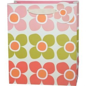 A medium size gift bag which is covered with printed images of pink, green and peach flowers. The bag has a natural ribbon handle and a circular tag with a pink flower on it.