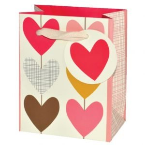 A small gift bag which has a number of multi coloured hearts printed on it. The handle is made from natural coloured ribbon and the tag is circular with a big pnk heart printed on it.