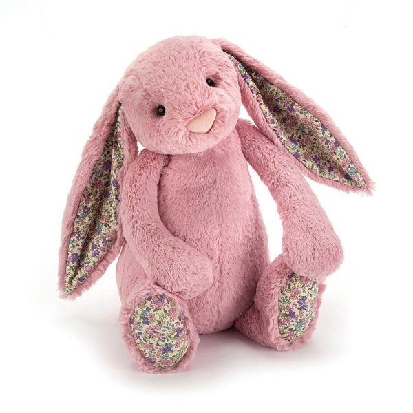 31cm Blossom tulip bunny from Jellycat. A dusky pink rabbit cuddly toy with flowery print ears and feet. A lovely gift for a little girl or a new born baby. Suitable from birth