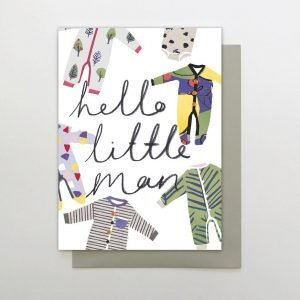 "A hand finished card with sparkly gem stones. with drawings of baby grows and the words ""Hello Little Man"""