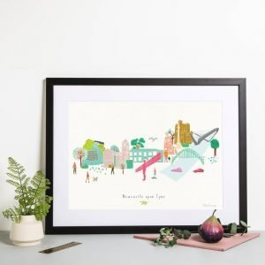 An illustrated print of Newcastle / Gateshead landmarks in a city scape