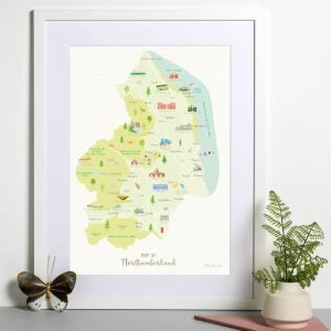 An illustrated map of Northumberland A3 print featuring landmarks and areas throughout the county. Shown in a white frame with a white mount