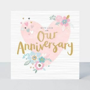 Our Anniversary card combines pretty florals with bold hand drawn typography for a fresh, contemporary feel. This card is delicately finished with hand applied shimmering jewels and gold foil details