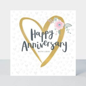 A large square card with a hand drawn style heart in gold foil with flowers and gem stones with Happy Anniversary with love wording