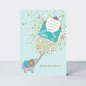 Contemporary Congratulations card with a cute elephant and an envelope holding a little note that reads so happy to hear your amazing news!