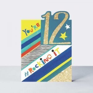 A vibrant graphic card, perfect for an Age 12 boy. With a cool '#Rocking it' caption printed with neon inks and finished with gold flitter, this card also features a die-cut top and collaged wording