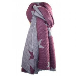Pleated texture reversible scarf with star motifs in plum and grey. Super soft scarf