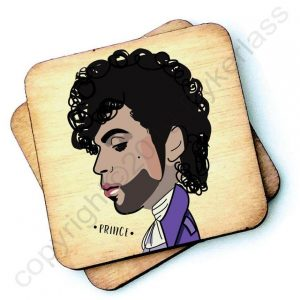 A wooden coaster with a cariacture of Prince