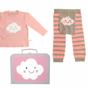 A pink and grey little suitcase with a cute cloud on the front and containing a pink top with the cloud motif and a pair of grey and pink striped leggings with the cloud motif on the bottom. For ages 6 to 12 months