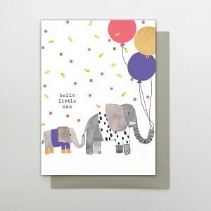 A new baby boy card with a little elephant holding the tail of a bigger elephant who is holding 3 balloons. The words read Hello Little Man
