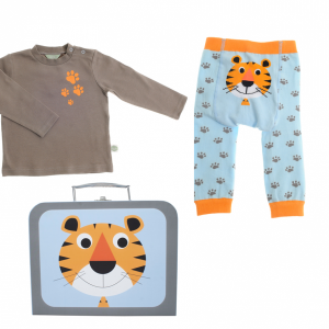 A little tiger suitcase containing a pair of cute leggings with a tiger and tiger prints and a matching long sleeved top. for age 12 to 18 months