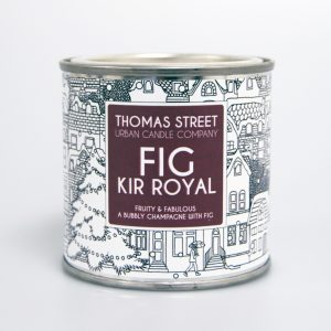 A hand poured fig and kir royale scented soy wax candle from Thomas Street. Hand poured in England