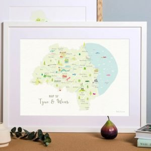 A hand drawn style map of Tyne and Wear A3 print featuring landmarks and areas throughout the county shown here in a white frame