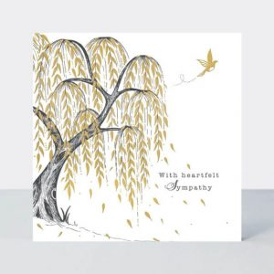 Sympathy card incorporating an elegant weeping willow in a striking and stylish monochrome design