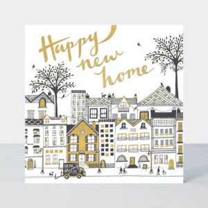Happy New Home card incorporating a cityscape theme in a striking and stylish monochrome design