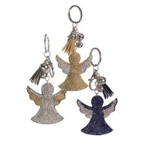 Sparkling diamante angel key ring.