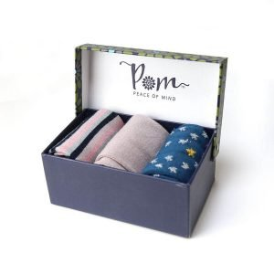 A boxed trio of ladies bamboo socks in pinks and blues to fit size 4 to 7