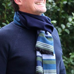 Men's navy blue striped winter scarf