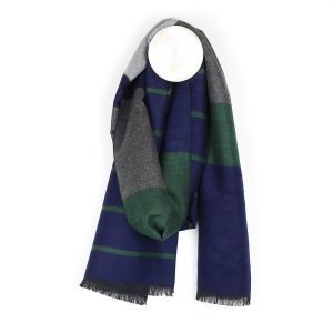 Men's soft feel winter scarf in blue, green and grey stripes