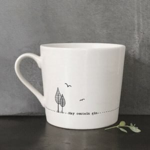 A cream ceramic mug with a black line drawing of a trees and flying birds and the words, May contain Gin. Comes in a gift box