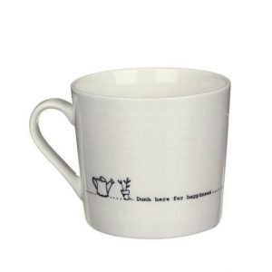 A cream mug with a black line drawing of a watering can and a potted plant and the words Dunk here for happiness