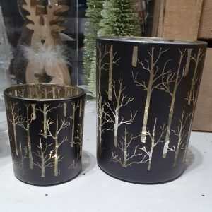 Candle votive in black and gold with tree pattern. Small and large available