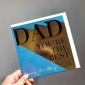 A blue and gold Dad birthday card with Dad you're the best. Happy Birthday