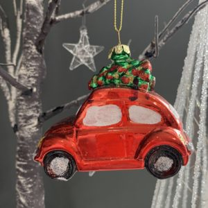 A red car christmas decoration to hang on a christmas tree.