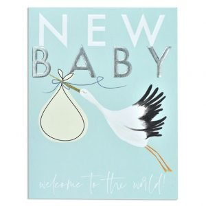 A new baby card in blue with a stork carrying a bundle