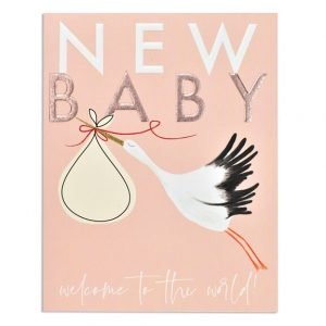 A new baby card in pink with a stork carrying a bundle